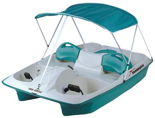 Sun Dolphin Sun Dolphin AQUA Sun Slider Adjustable 4 Seat Lounger Pedal Boat w/ Canopy
