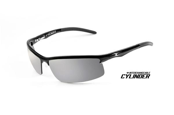 NEW ICICLES Cylinder Silver Mirror Lens Sunglasses with Matte Black Frame