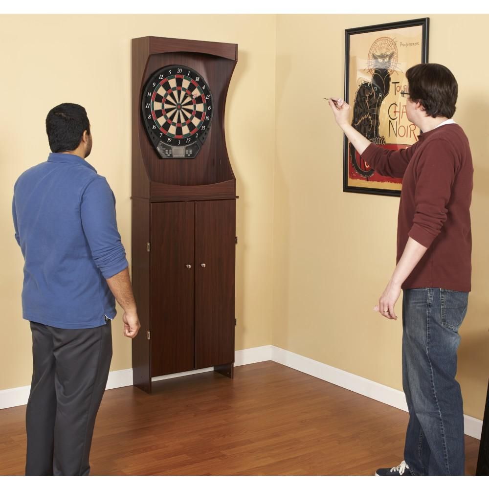 The Complete Package Includes Cabinet Dartboard And Two Sets Of Soft Tip Darts This Beautiful Free Standing Set Features High Quality
