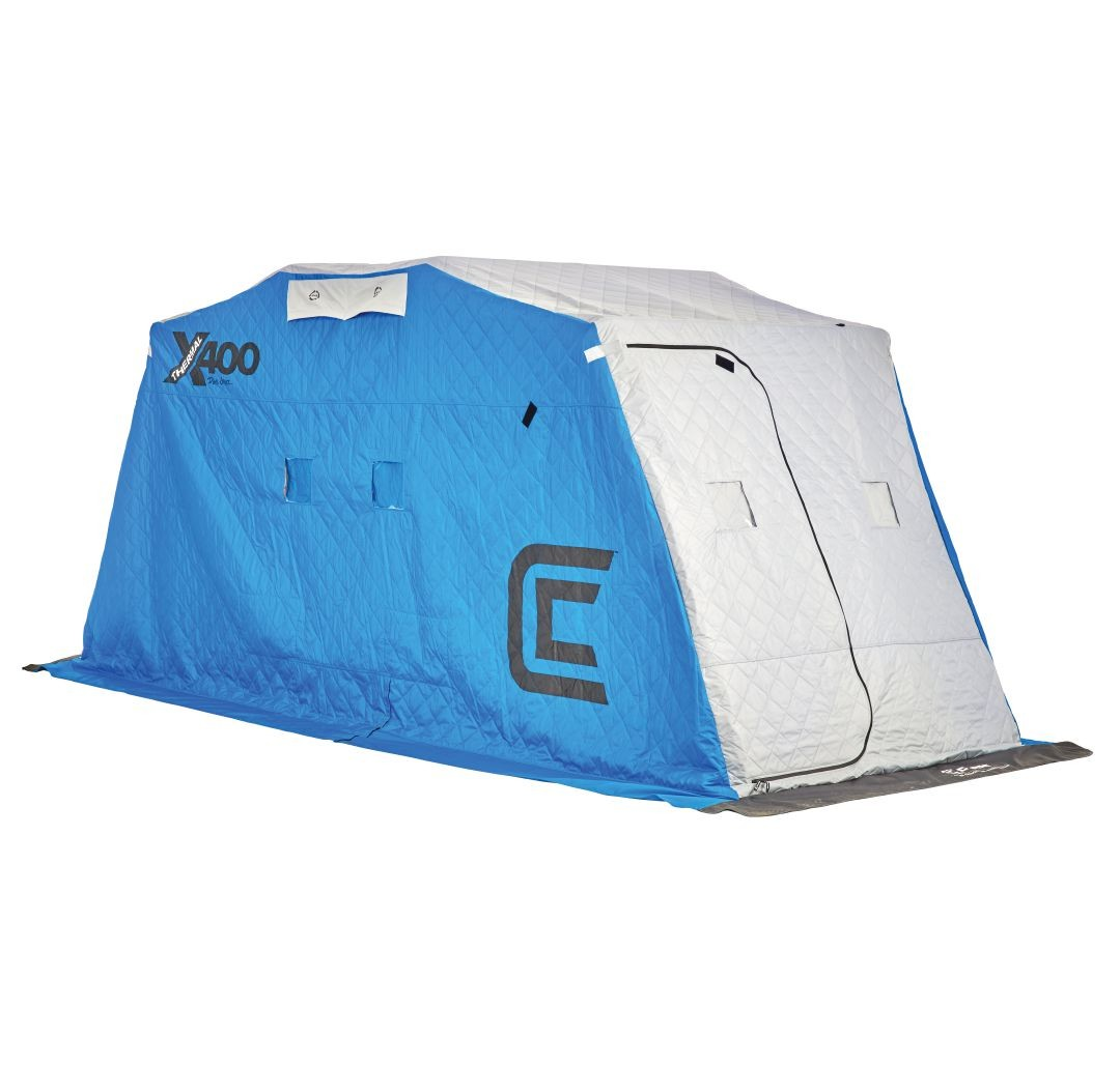 New clam outdoors 10127 x400 thermal 4 man ice fishing for Clam ice fishing shelters