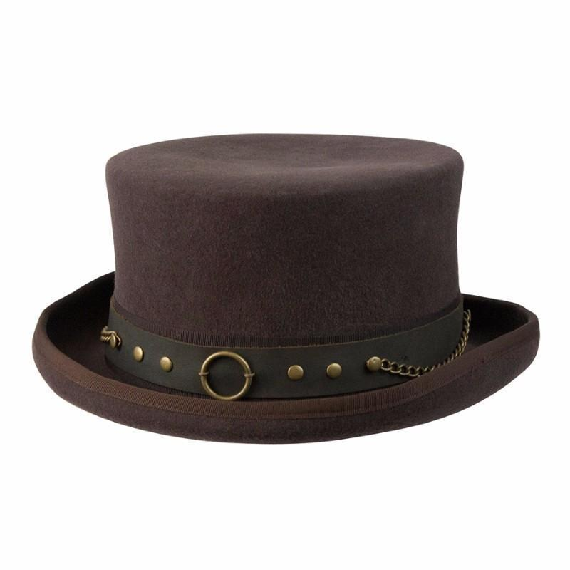 New Conner Cov-ver Hat Australian Wool Steampunk Top Hat With Brass Rings  Small 27842a2d59b3